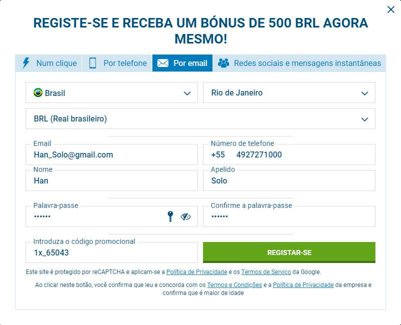 1xbet registrar por email